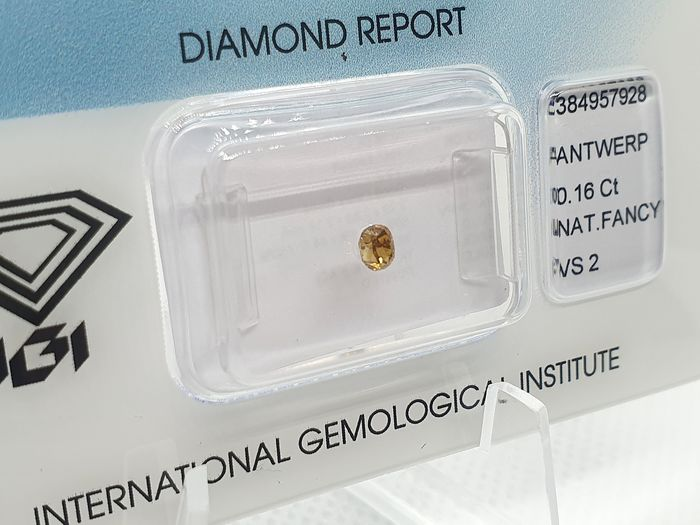 Diamant - 0.16 ct - Brillant ovale - fancy intens orangy yellow - VS2