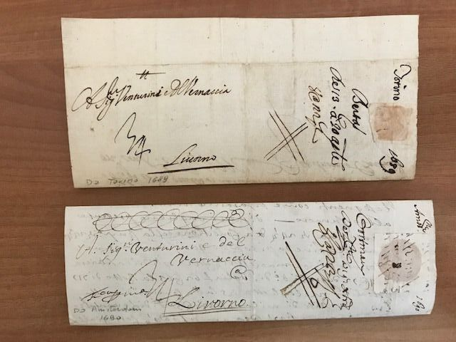 Italie 1684 - Lot of four merchant letters with postmark late 1600, with one from Holland