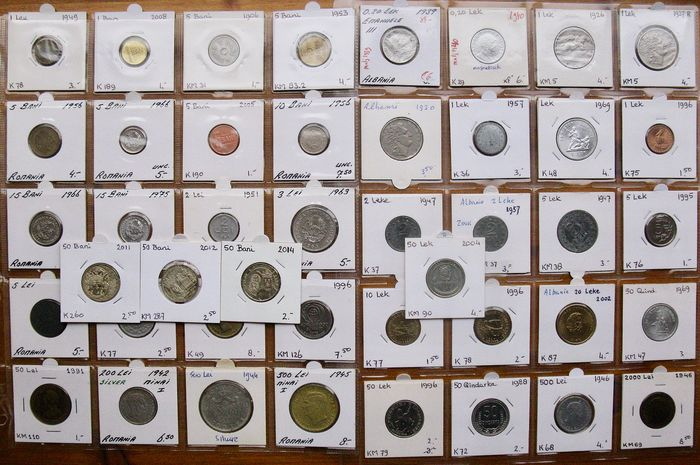Albanien, Rumänien - Collection various coins 1908/2014 (44 different) incl 2x silver & many high grades