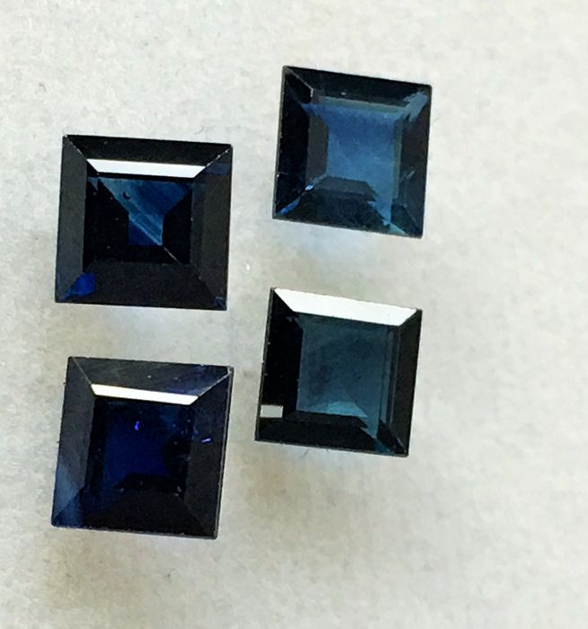 4 pcs Bleu Saphir - 3.45 ct