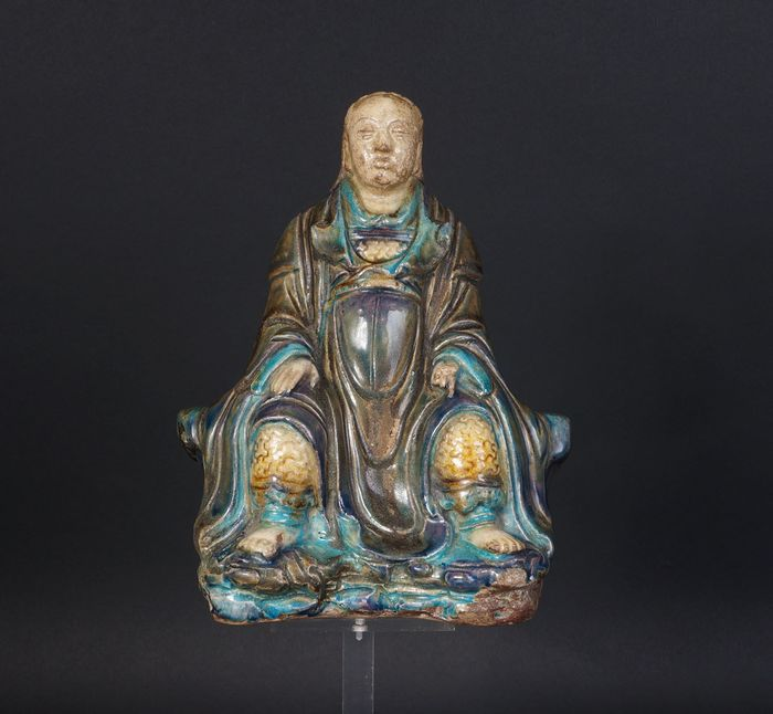 antique chinese ming san cai statue of zhengde  (1) - Sancai - Porselein - China - Qing Dynastie (1644-1911)