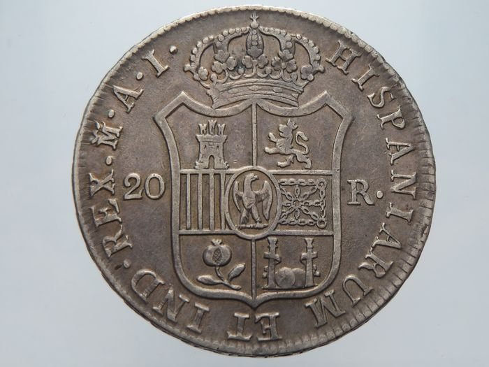 Spain - 20 Reales 1809 - Madrid - Giuseppe Napoleone - Silver