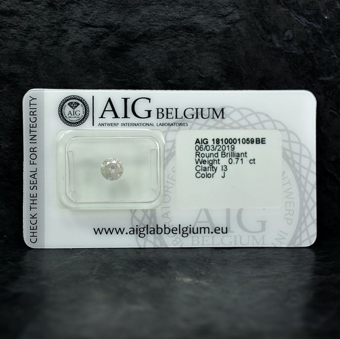 Diamant - 0.71 ct - Brillant - J - I3 - NO RESERVE PRICE