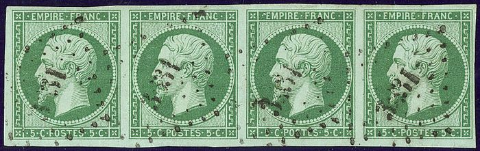 Frankreich 1854 - Napoleon III, 5 centimes dark green on green, strip of 4. - Yvert 12c