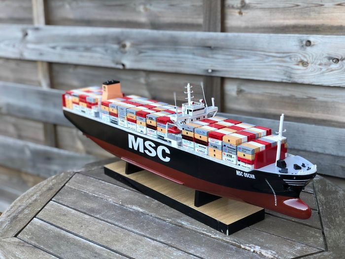 Scale ship model, Containerschip MSC Rifaya Panama 65cm - Hout, Mahonie - 2018