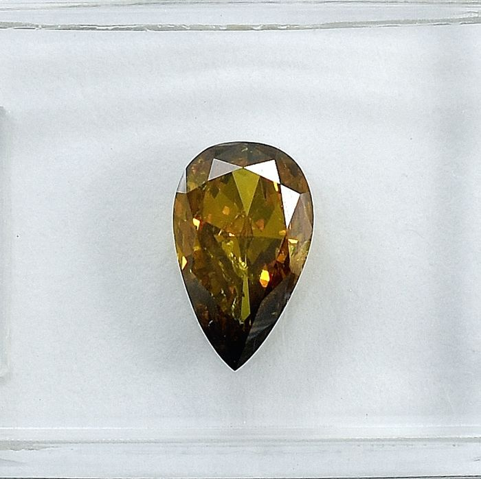 Diamant - 1.01 ct - Birne - Natural Fancy Deep Brownish Yellow - I2 - NO RESERVE PRICE