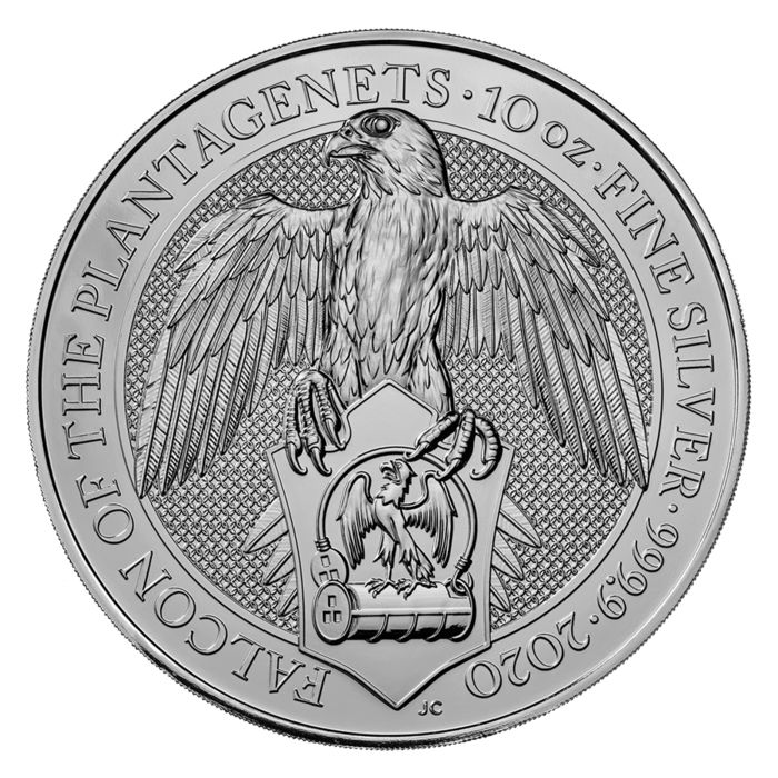 United Kingdom - 10 Pounds 2019 Queens Beast - Falcon of the Plantagenets  - 10 oz 999 - Silver