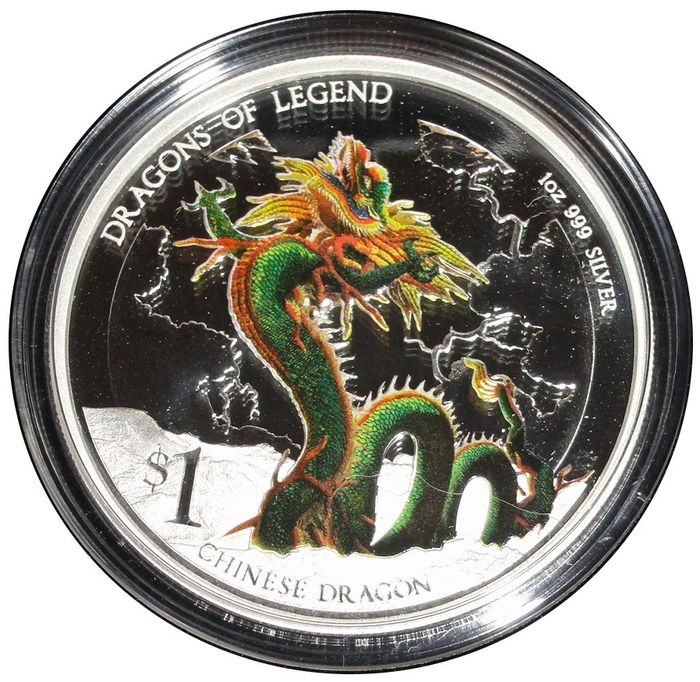 Tuvalu - 1 Dollar 2012 - Dragons of Legend - Chinese Dragon - 1 Oz with BOX - Silver