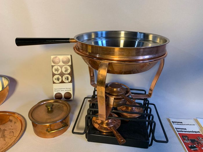 Kitchenware, Metalware, Foundue - Mid-Century Modern - Copper, Iron (cast/wrought), Steel (stainless)