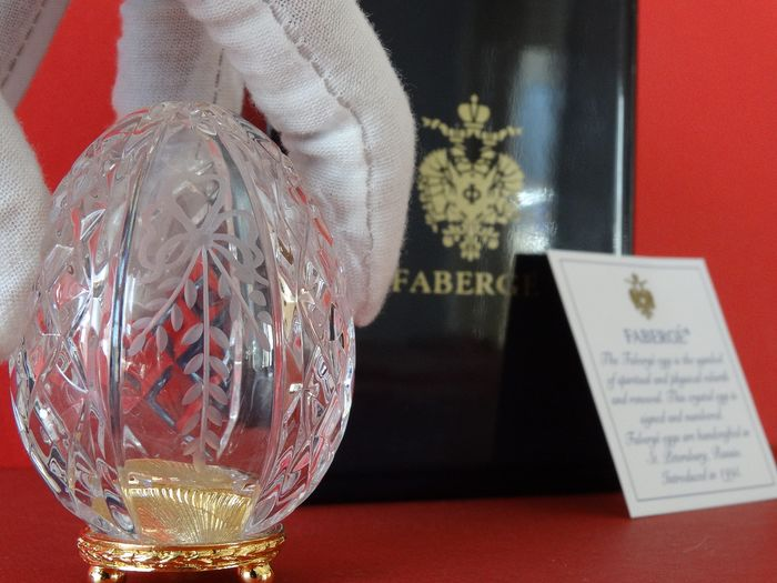Authentic Faberge Imperial egg hand engraved crystal Romanov eagle - Faberge ei - .999 (24 kt) goud
