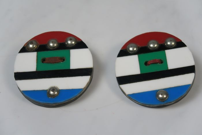 Ear rings (2) - perspex, bolt nails - Msingha - ZULU - South Africa