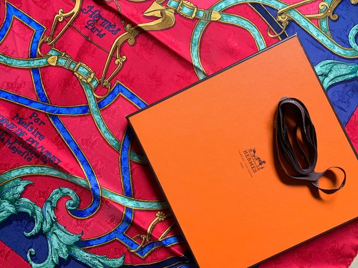 Hermès - Raro Hermes jaquard silk 'Instruction du Roy ' con scatola , nastro e shop Bag Hermes  Pañuelo