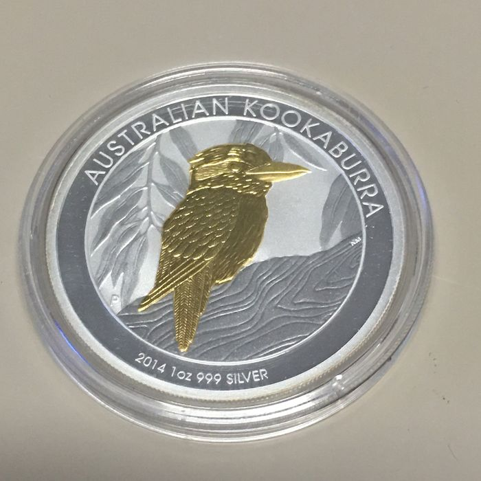 Australia - 1 Dollar 2014 'Kookaburra' Partial Gold Plated - 1 Oz - Silver