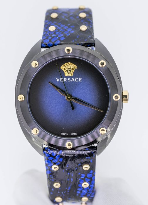 Versace - Shadov Watch Blue Snakeskin Pattern leather strap Swiss Made - VEBM00418 - Mujer - Brand New