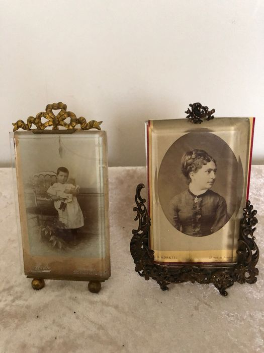 Two photo frames - Glas, Messing