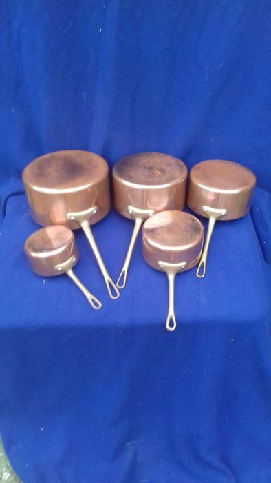 Set of French copper saucepans - Copper, Spelter