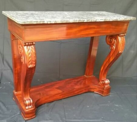 Console table - Charles X - Mahogany, Marble - First half 19th century
