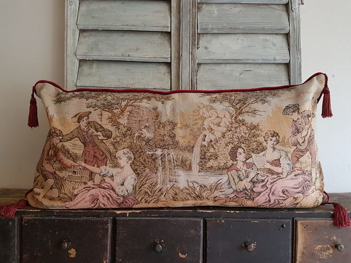 Large French gobelin throw pillow - dust - 20th century