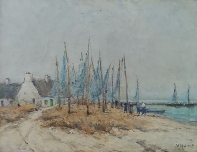 Signed by Maurice Moisset (Paris, 1860-1946 ). Oil on canvas depicting a fishing village, France, 1880/1900