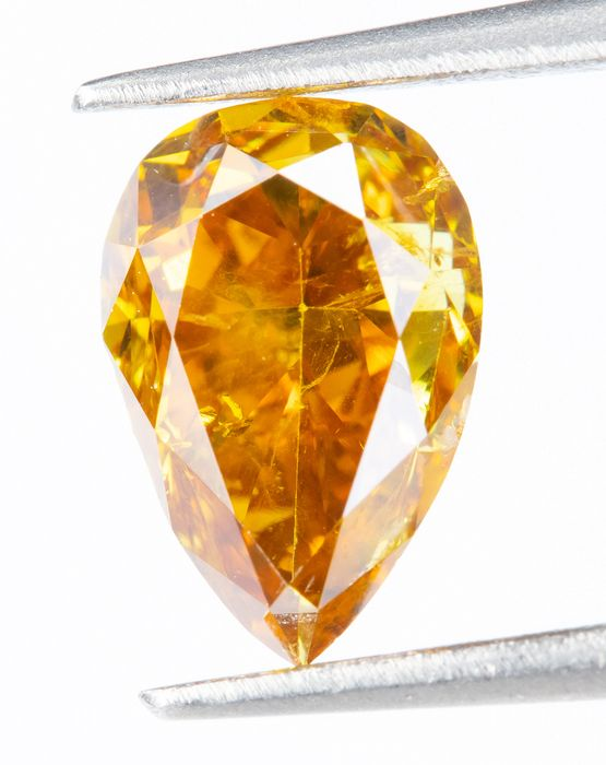 Diamant - 0.83 ct - Natural Fancy VIVID orangy gelb - SI2  *NO RESERVE*