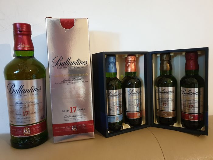 Ballantine's 17 years old & Signature Distillery Collection - Original bottling - 70cl & 20cl - 5 bottiglie