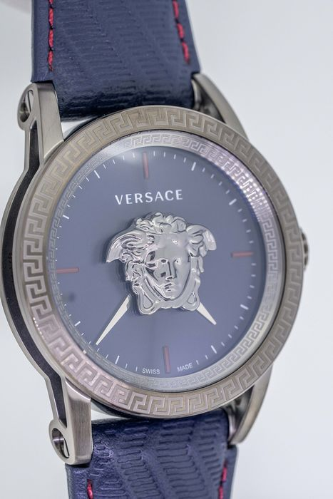 Versace - Palazzo Empire Watch Grey Stainless Steel Blue Dial Leather strap Swiss Made - VERD00118 - Herren - Brand New