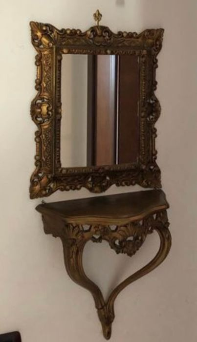 Console table, Table mirror, Wall light - Resin/Polyester, Wood