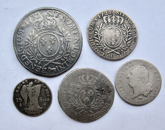 France - Lot of 5 royal coins (15 Sols up to Ecu) 1726/1792 - Silver