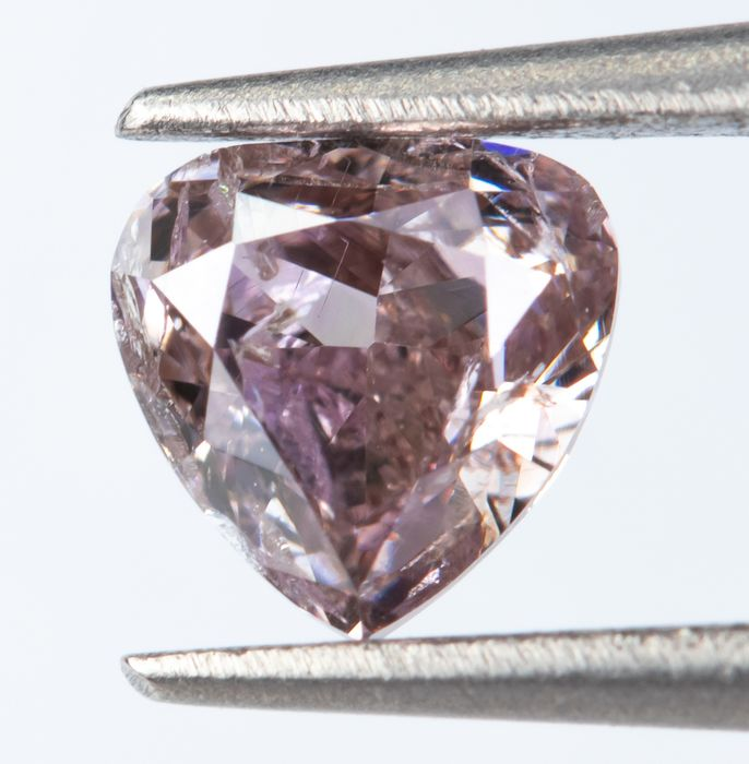 Diamant - 0.28 ct - Natural Fancy Brownish Purplish Pink - I1  *NO RESERVE*