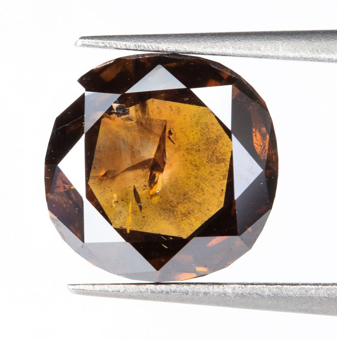 Diamant - 1.76 ct - Natural Fancy DARK orangy Brown - I1  *NO RESERVE*