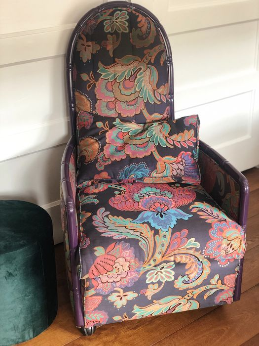 Giorgetti - Fauteuil, Vintage Fauteuil -  Paars bloemen motief