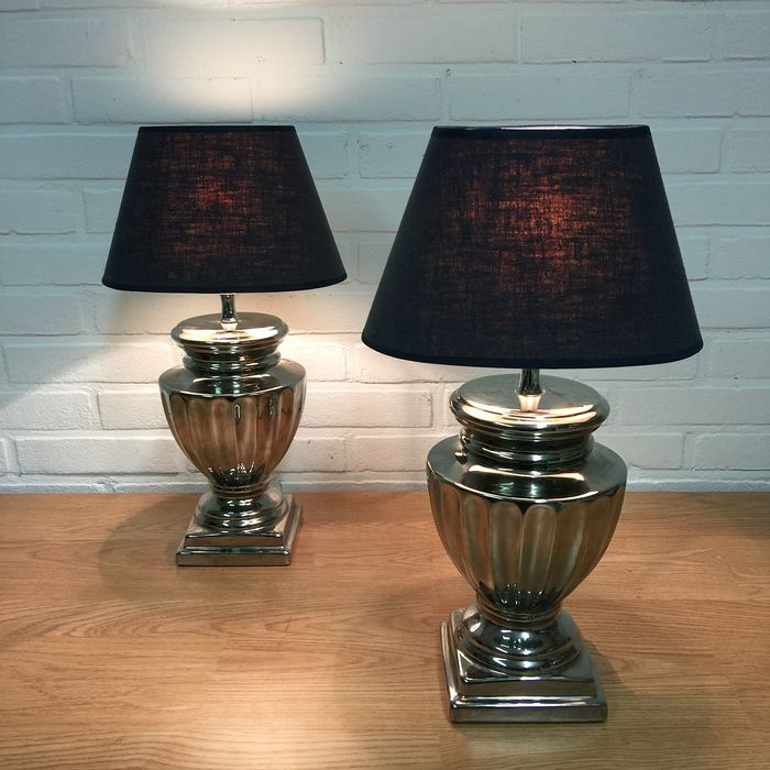 Two chic table / bedside lamps - Gothic Style - Ceramic