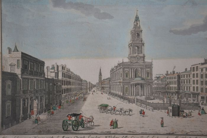 Georg Balthasar Probst (1732-1801) - A view of Somerset House with S. Mary's Church, London.