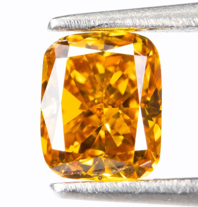 Diamant - 0.25 ct - Natürliche Phantasie VIVID Gelb-Orange - VS1  *NO RESERVE*