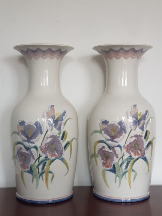 Lladró - Pair of Pansy vases - Very large - Porcelain
