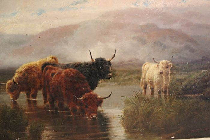 Robert Watson (1865 - 1916) - Scottish Highlanders in a stream
