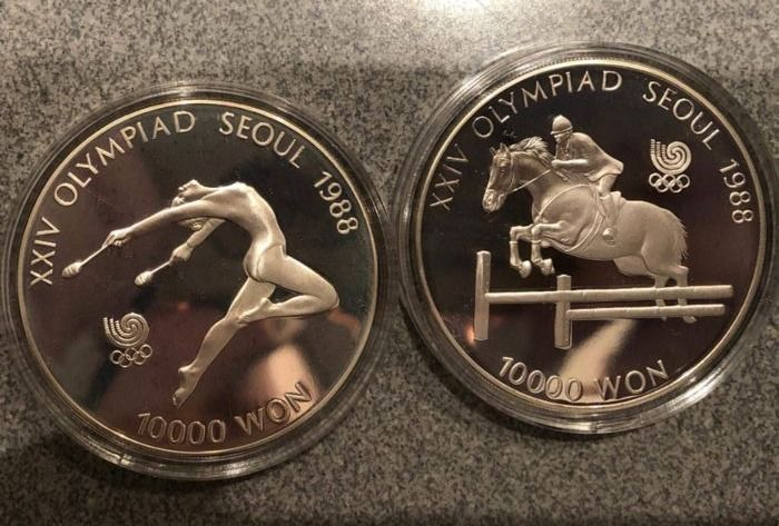 Corée du Sud - 10000  Won - 1988 Seoul Olympic Games - Gymnast&Equestrian Events (2 coins) - Argent