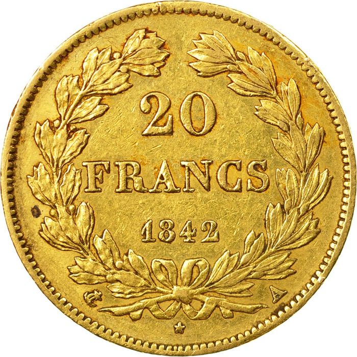 20 Francs 1842-A Louis Philippe I - Or