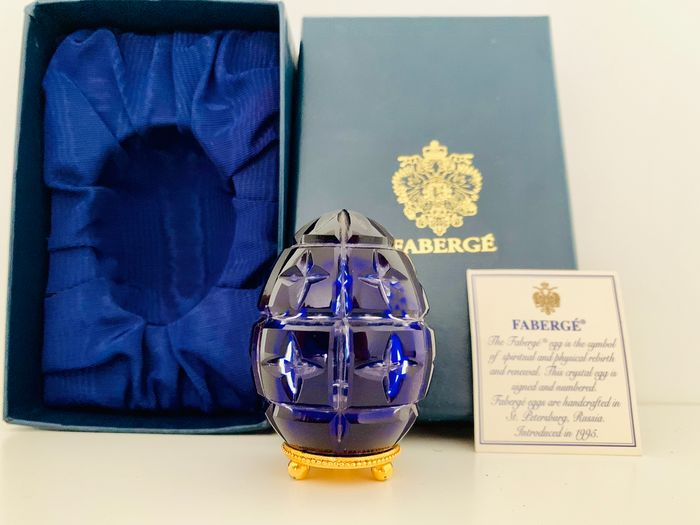 Fabergé - Imperial Collection - Imperial Cobalt Faberge Egg - Austrian Crystal, 24 carat gold -  Serial Number 0434