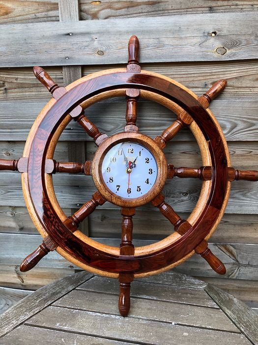 Yachtmodell Wooden Wheel Bar Full Watch 80cm groß - Holz