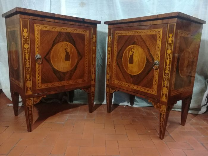Pair of bedside tables finely inlaid with neoclassical motifs