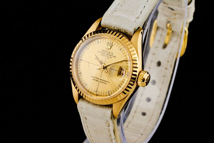"""Rolex - Lady Oyster Perpetual Date Just 18K Gold - """"NO RESERVE PRICE"""" -  6900 - Women - 1970-1979"""