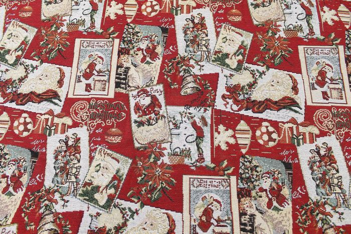 2.20 meters !! Fantastic gobelin fabric with lurex christmas designs. textile, fabric, stoff, - Cotton, Resin/Polyester, cotton blend