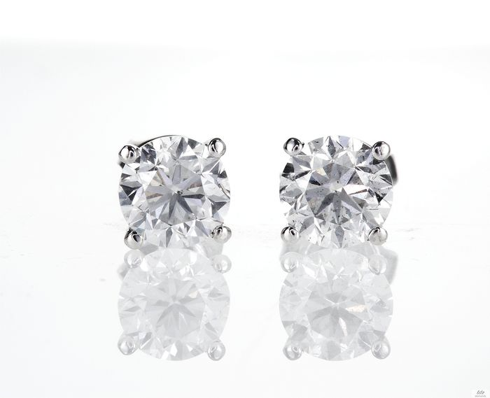 14 kt. White gold - Earrings - 2.10 ct Diamond - No reserve price