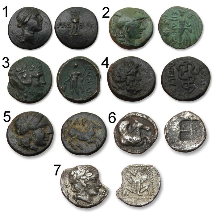 Greece (ancient) - Lot of 7 coins (AE/AR), including: Thrace, Trieros. AR Hemiobol, 420-380 BC / Macedon, Thermai. AR Hemiobol, 500-480 BC - Bronze, Silver