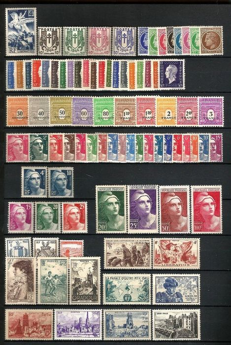 Frankreich 1945/1951 - Lot with 7 years of stamps, mint** without hinges - Yvert  863 au 967
