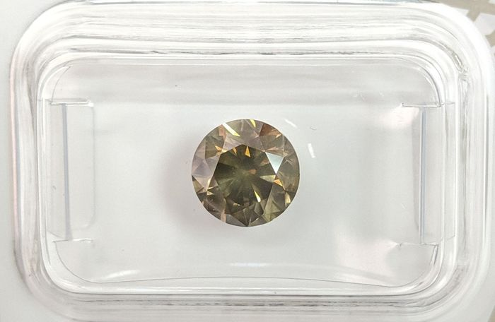 Diamant - 1.51 ct - Brillant - Fancy Deep Brownish Yellowish Green - SI2, No Reserve Price