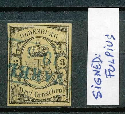 Oldenburg 1859 - Michel #8 (cancelled) signed by Fulpius