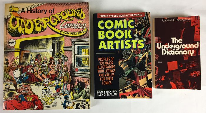 A history of Underground + Comic Book Artists + The Underground Dictionary - 3x naslagwerk - Softcover - Erstausgabe - (1971/1993)
