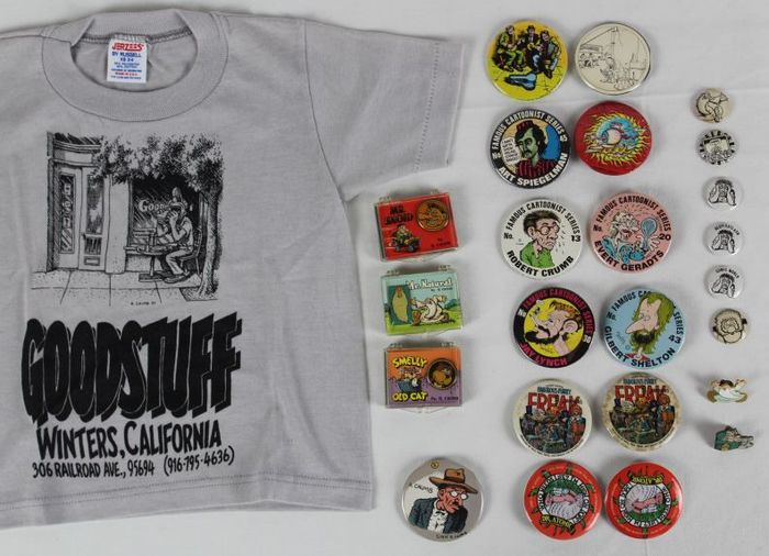 Crumb, Shelton e.a. - T-shirt + 19x button + 5x speldje - 25x - (1977/1990)